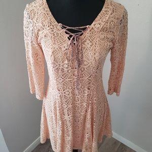 EUC Lace up Boho Dress Fully-lined Lace Dress